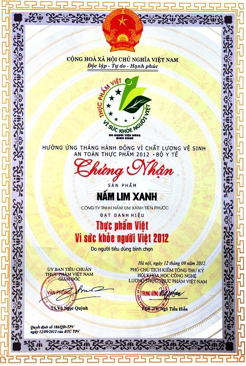 Giấy chứng nhận thực phẩm Việt vì sức khỏe